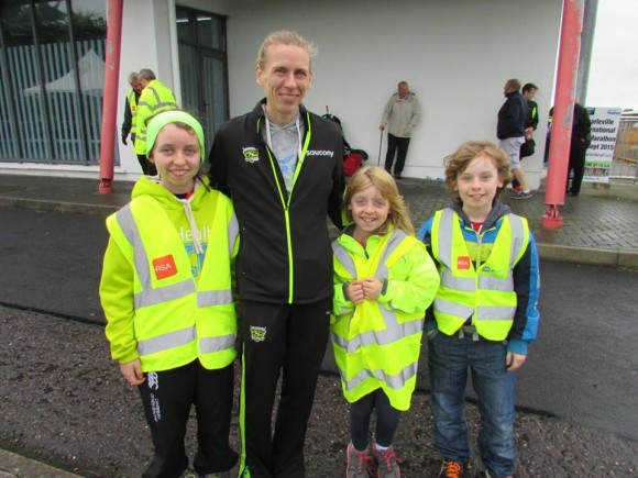 Irish Olympian Maria McCambridge with some young athletes from North Cork AC