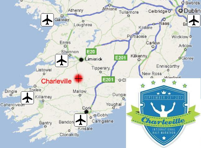 Central Location of Charleville on Map of Munster, Ireland